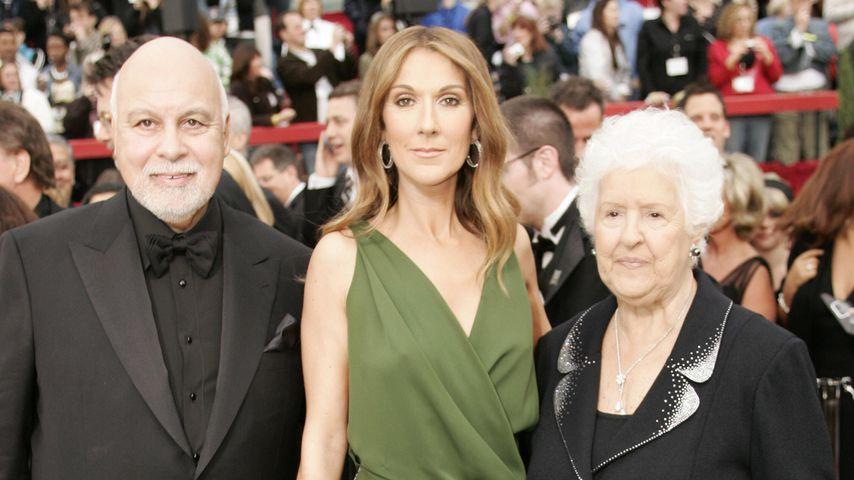 Celine Dion mit ihrem Ehemann René Angélil (l.) und Mama Therese (r.) 2007