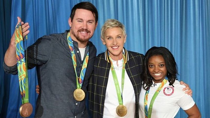 "Channing Tatum, Ellen DeGeneres und Simone Biles (v.l.) bei der ""The Ellen DeGeneres Show"""