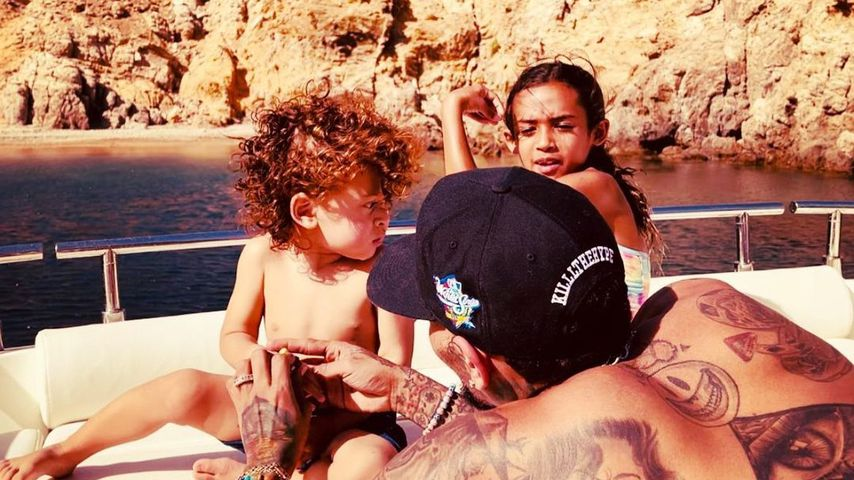 Chris Brown mit seinen Kindern Aeko und Royalty