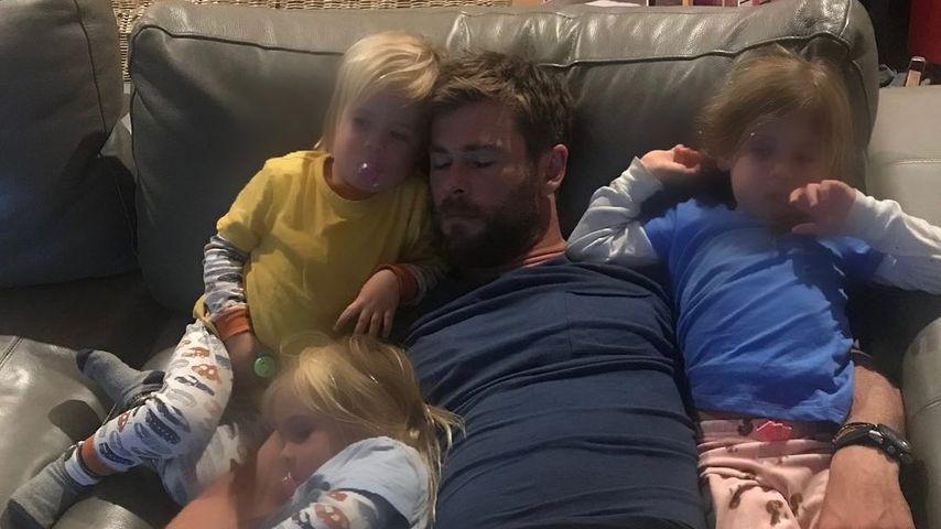 Chris Hemsworth mit seinen Kindern India Rose, Tristan und Sasha