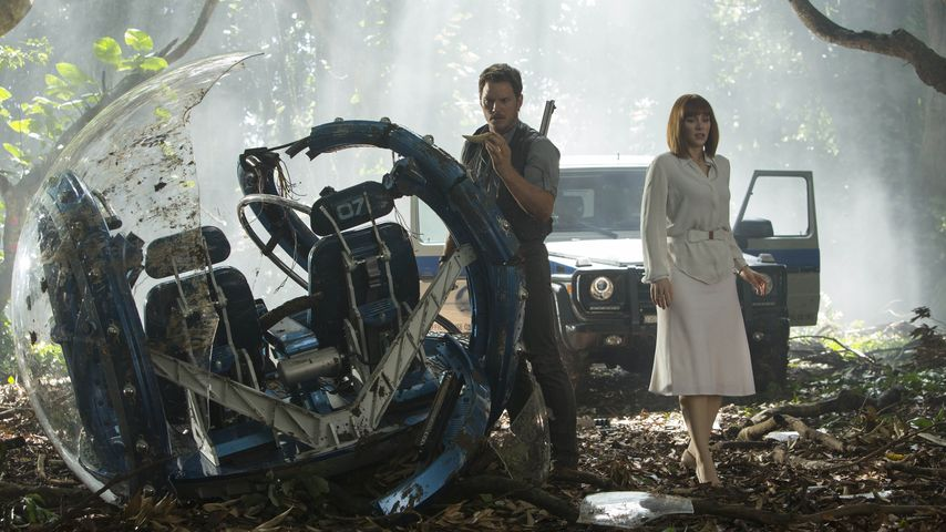 "Chris Pratt und Bryce Howard in ""Jurassic World"""