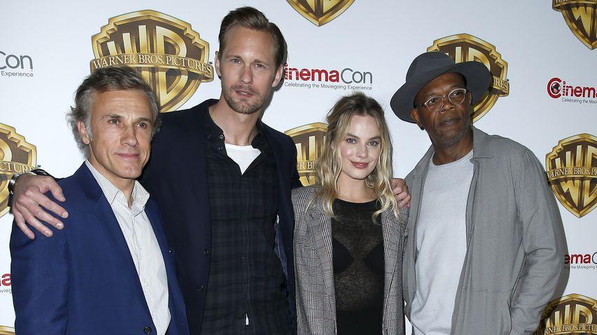 """Christoph Waltz, Alexander Skarsgard, Margot Robbie und Samuel L. Jackson bei der """"CinemaCon"""""""