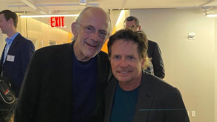 """Christopher Lloyd und Michael J. Fox aus """"Zurück in die Zukunft"""" während der Poker-Nacht 2020"""