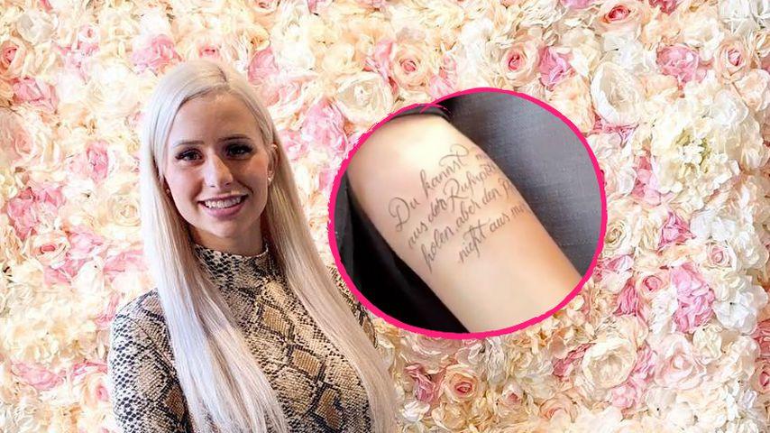 Riesig: Carina Spack lässt sich Ruhrpott-Tattoo stechen