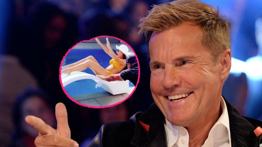 Scherzkeks: Dieter Bohlen schmeißt seine Carina in den Pool