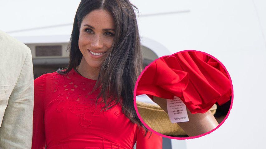 Witziger Kleid-Fauxpas: Bei Meghan lugt das Etikett heraus!