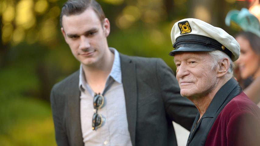 Cooper Hefner und Hugh Hefner beim 60. Playboy Geburtstag