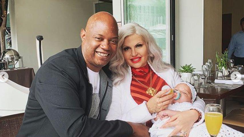 Daniel Charlier und Sophia Vegas mit ihrer Tochter Amanda im Mai 2019