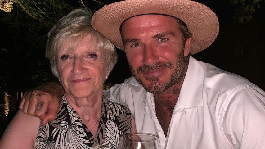 David Beckham und seine Mutter Sandra im August 2019