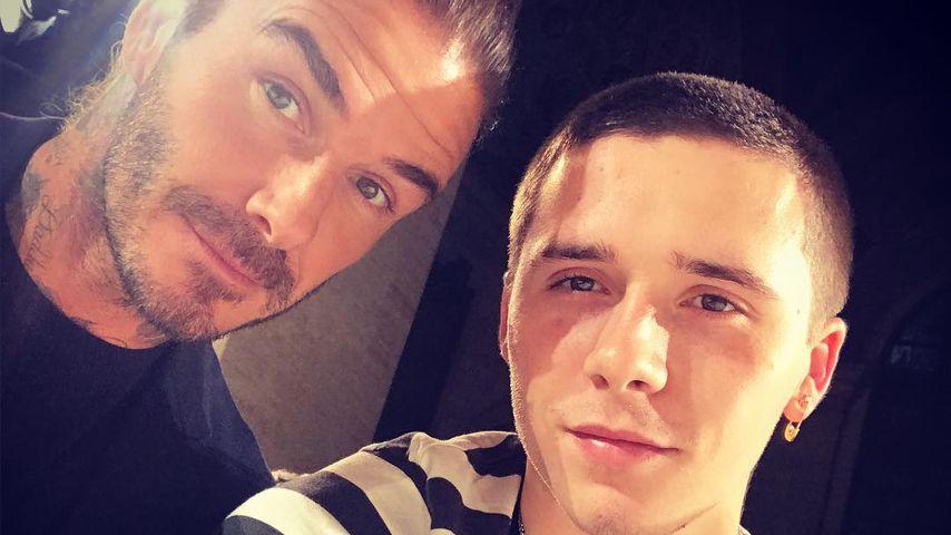 David Beckham und sein Sohn Brooklyn bei der New York Fashion Week
