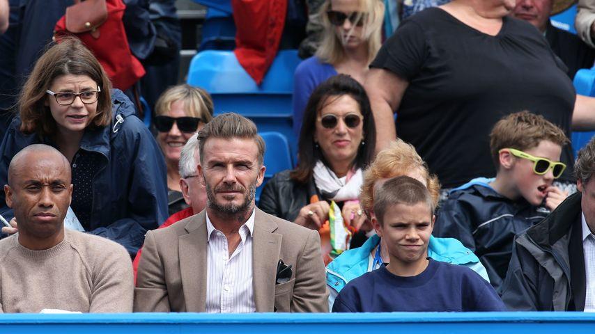 David Beckham und Sohn Romeo beim Spiel der Aegon Queens Tennis Championship