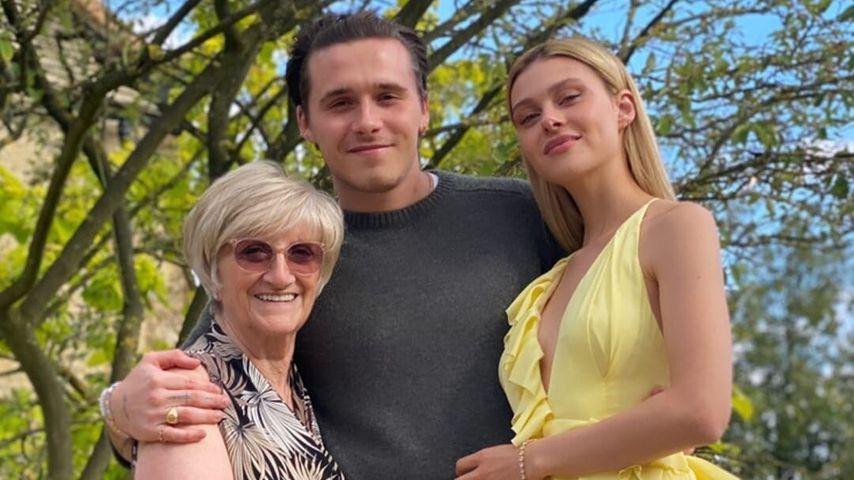 David Beckhams Mutter Sandra, ihr Enkel Brooklyn Beckham und seine Verlobte Nicola Peltz, Juli 2020
