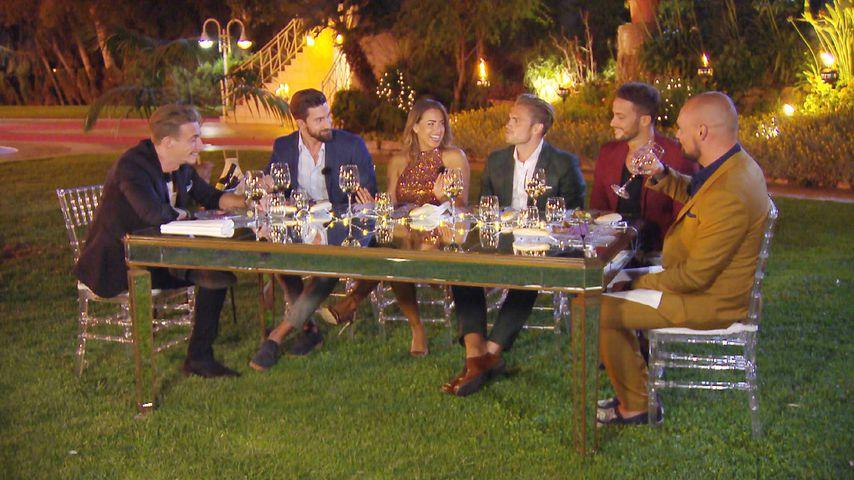 Jessica Paszka mit den Bachelorette-Kandidaten David, Sebastian, Johannes, Domenico und Niklas