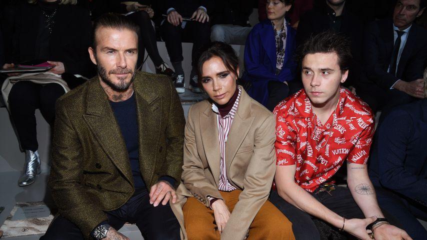 David und Victoria Beckham mit ihrem Sohn Brooklyn, Januar 2018