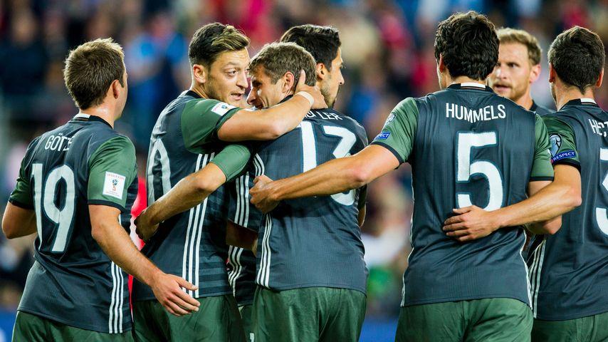Die DFB während des WM-Qualifikationsspiels in Oslo
