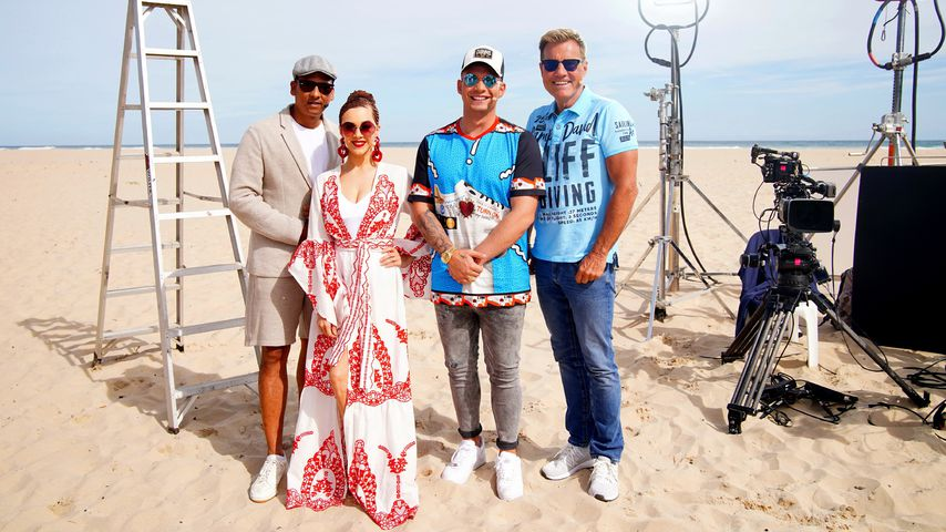 Die DSDS-Jury am Strand
