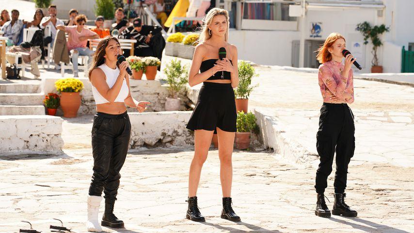 Die DSDS-Kandidatinnen Katharina Eisenblut, Pia-Sophie Remmel und Michelle Patz