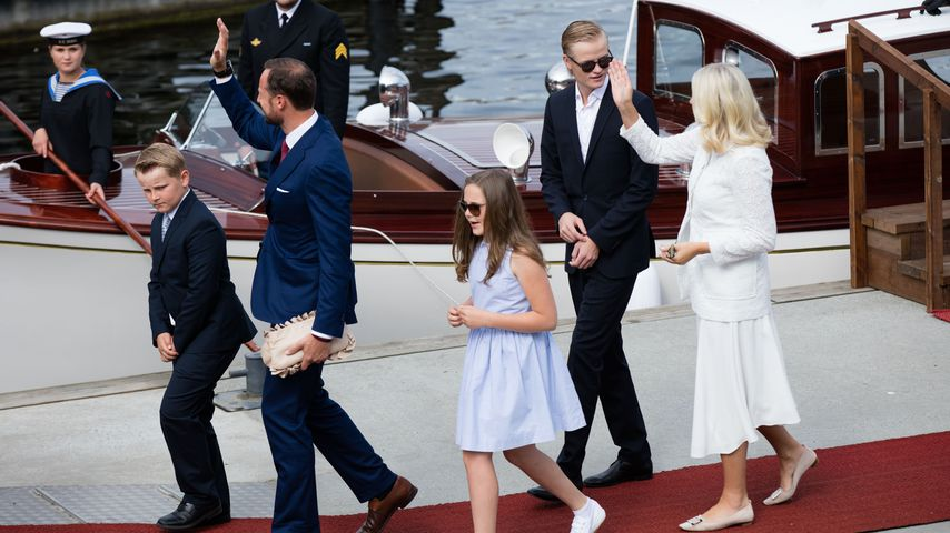 Die norwegische Kronprinzen-Familie bei einem Besuch in Trondheim