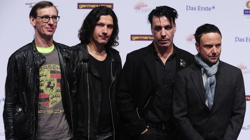 Christian Lorenz, Christoph Schneider, Till Lindemann und Paul Landers von Rammstein