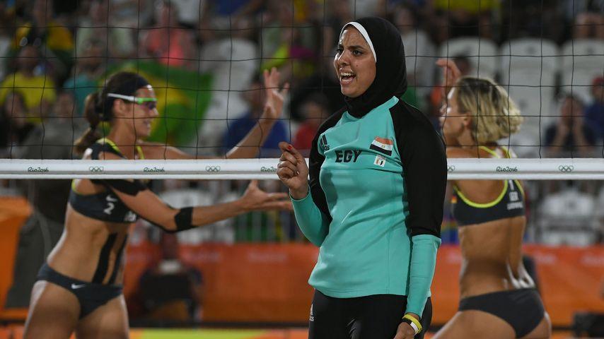 Doaa Elghobashy beim Beachvolleyball-Spiel gegen Deutschland
