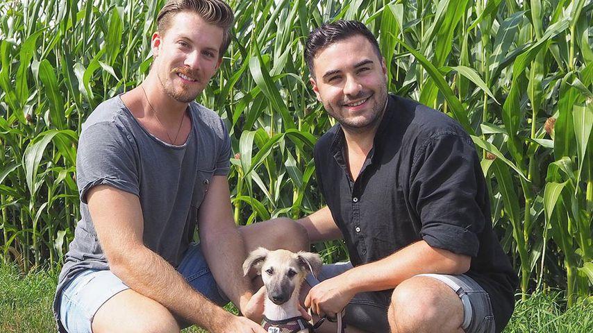 Dominik Schmitt und Lars Steinhöfel mit ihrem neuen Hund