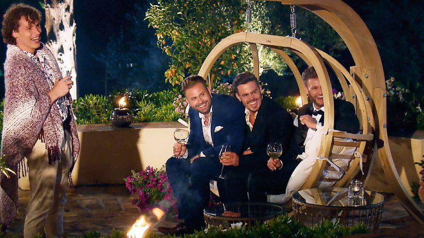 Eddy, Kevin, Manuel und Daniel in der Bachelorette-Villa