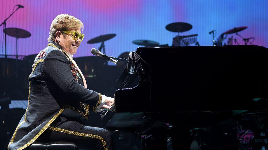 Musiker Elton John während eines Auftritts in New York, 2019