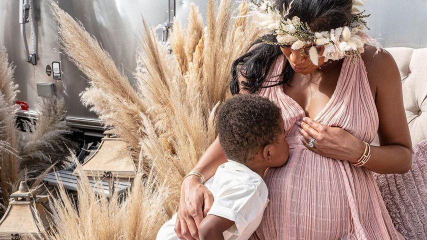 Eniko Hart mit ihrem Sohn Kenzo im August 2020