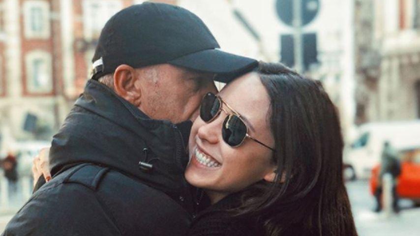 Sänger Eros Ramazzotti mit seiner Tochter Aurora, Februar 2018