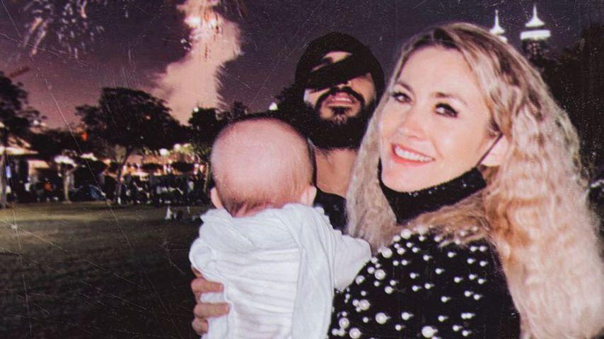 Fiona Erdmann mit ihrem Freund Mohammed und Sohn Leo Luan