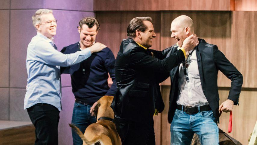 Frank Thelen und Ralf Dümmel (2.v.l.) mit Tim Ley und Jérome Glozbach de Cabarrus