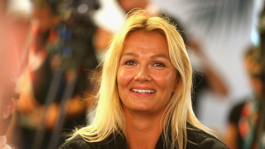Franziska van Almsick bei einer Pressekonferenz