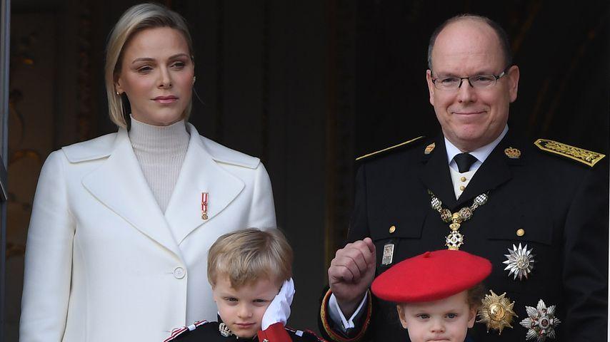 Fürstin Charlène und Albert II von Monaco mit ihren Kindern Jacques und Gabriela, 2019