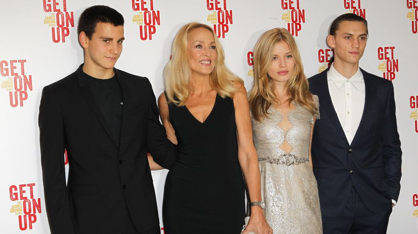 Gabriel Jagger, Jerry Hall, Georgia May Jagger und Josh McLellan im September 2014