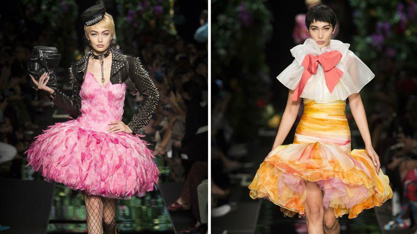 Gigi Hadid und Bella Hadid in Kleidern von Moschino auf der Fashion Week in Mailand