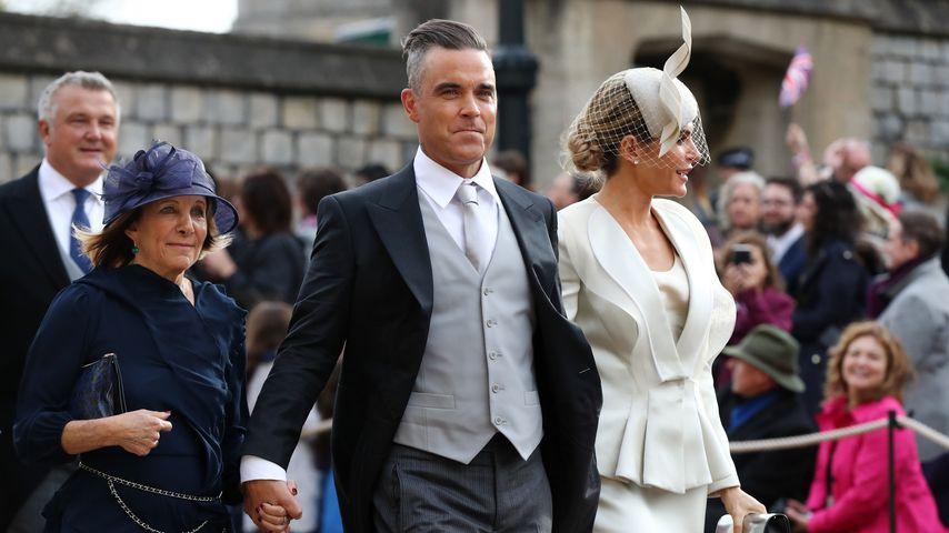 Gwen Field, Robbie Williams und Ayda Field bei Prinzessin Eugenies Hochzeit im Oktober 2018