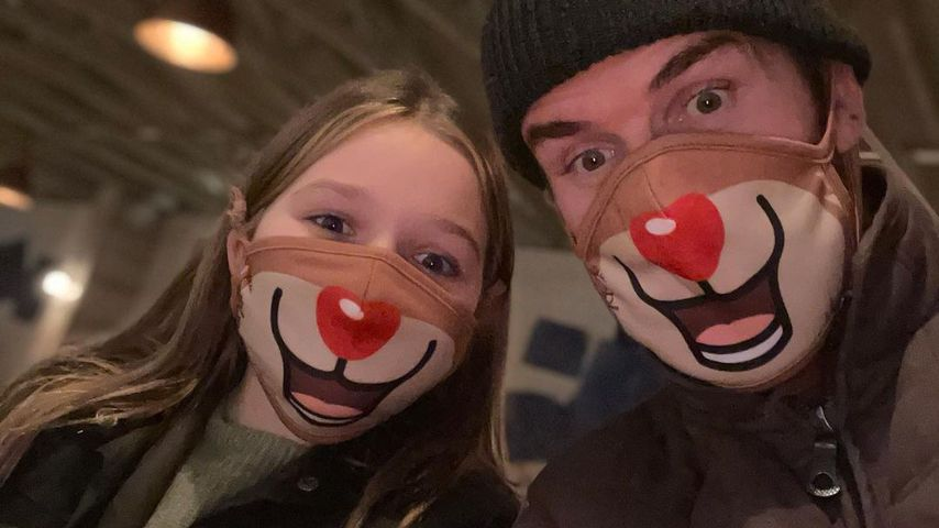 David Beckham und Tochter Harper im Weihnachtspartnerlook