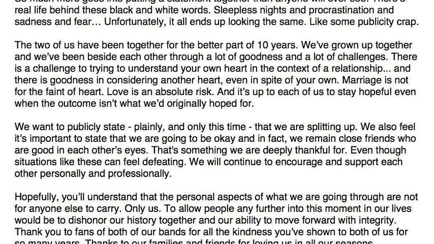 Hayley Williams' und Chad Gilberts Trennungs-Statement