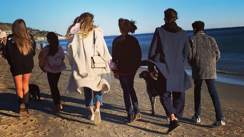 Heidi Klum mit ihren vier Kindern und Tom Kaulitz