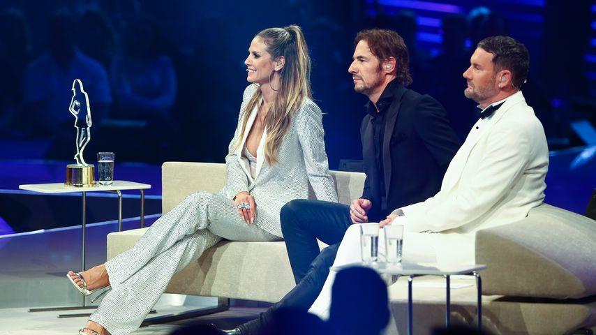 Heidi Klum, Thomas Hayo und Michael Michalsky beim GNTM-Finale 2017
