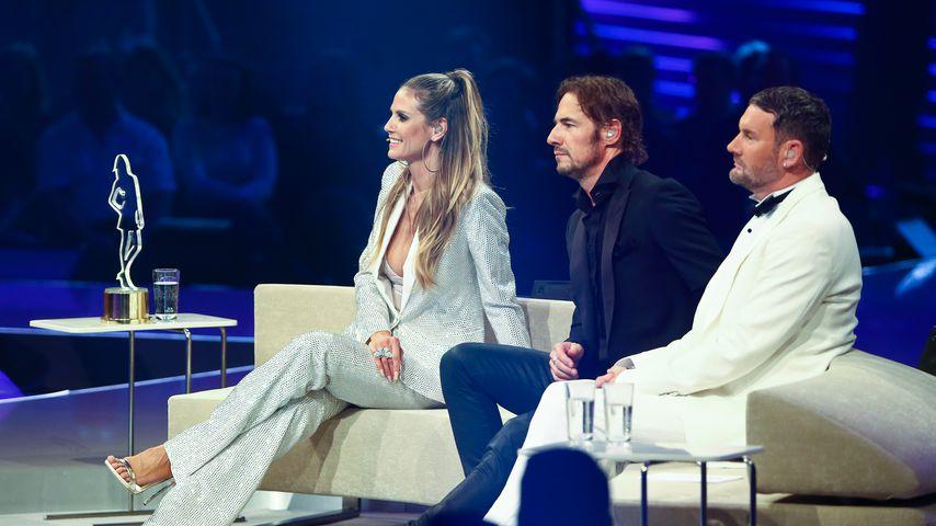 Heidi Klum, Thomas Hayo und Michael Michalsky bei der GNTM-Finalshow 2017
