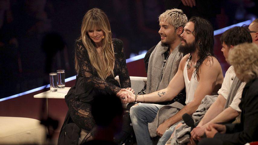 Heidi Klum und Bill sowie Tom Kaulitz im GNTM-Finale, Mai 2019