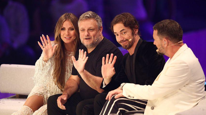 Heidi Klum, John Rankin Waddell, Thomas Hayo und Michael Michalsky im GNTM-Finale 2018