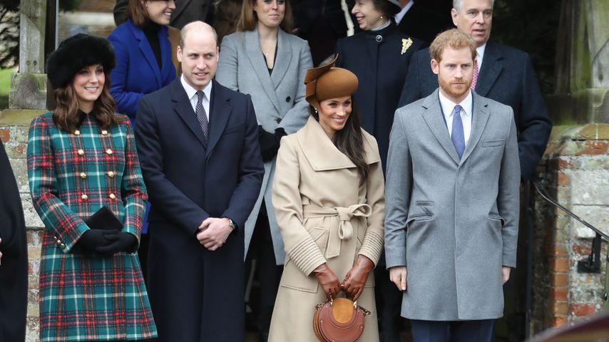 Herzogin Kate, Prinz William, Herzogin Meghan und Prinz Harry im Dezember 2017