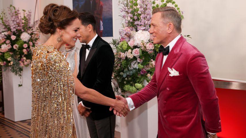 """Herzogin Kate und Daniel Craig bei der """"James Bond 007: Keine Zeit zu sterben""""-Premiere, 2021"""