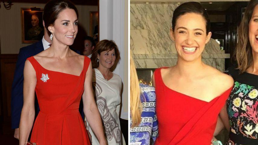 Wer überzeugt im roten Kleid? Herzogin Kate vs. Emmy Rossum!