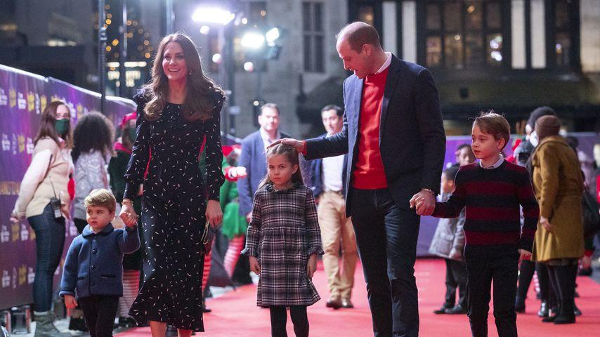 Prinz Louis, Herzogin Kate, Prinzessin Charlotte, Prinz William und Prinz George (v.l.n.r.)