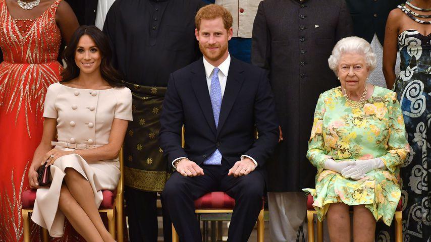 Herzogin Meghan, Prinz Harry und Queen Elizabeth II., 2018