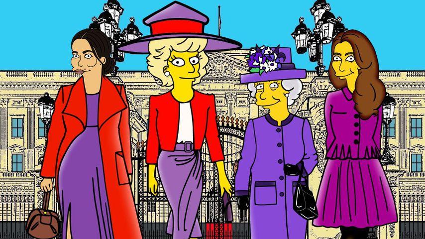 """Herzogin Meghan, Prinzessin Diana, Queen Elizabeth II. und Herzogin Kate als """"Simpsons""""-Figuren"""