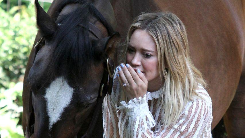 Hilary Duff bei Dreharbeiten